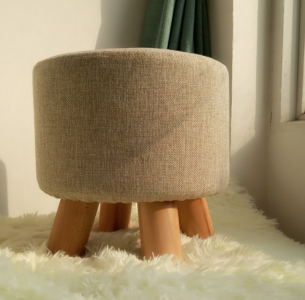 Wooden Ottoman Stool Round Fabric Sofa Stool Footstool Detachable Fabric Pouf Chair Modern Wood Stool(China (Mainland))