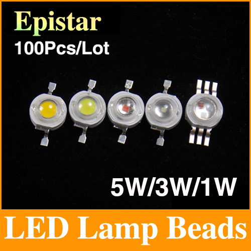 100pcs/lot Epistar 5w/3w/1w led beads chips bulb diode lamp warm/cold/natural white/white/red/yellow/blue/green/RGB/UV WLS01(China (Mainland))