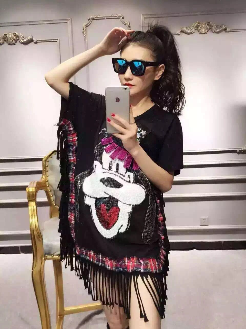 2016 spring and summer paillette sequins goofy dog patchwork tassel batwing sleeve t-shirt(China (Mainland))