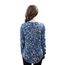 Fashion Women Elegant Vintage V-Neck Long Sleeve Floral Print Blouses Pullover Casual OL Shirts Tops(China (Mainland))