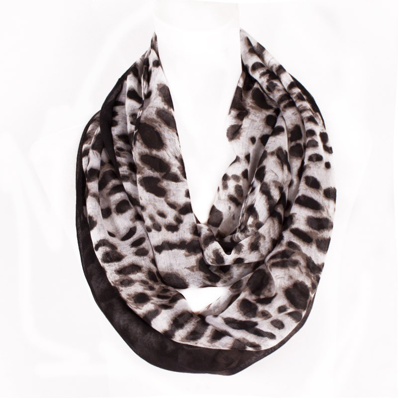 Leopard Women Scarf Famous Brand Infinity Loop Shawl With Gradual Change Balck Side Design Fashion Lady Gift Size 180*50cm #L140(China (Mainland))