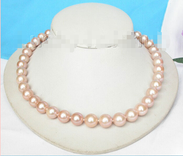 FREE shipping&gt;&gt;&gt; &gt;&gt;&gt;17 12mm round pink freshwater pearls necklace 925 silver clasp j8187<br><br>Aliexpress