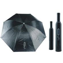 100% Brand New  Portable Creative Fashion Three Folding Wine Bottle Umbrella Black Free Shipping(China (Mainland))