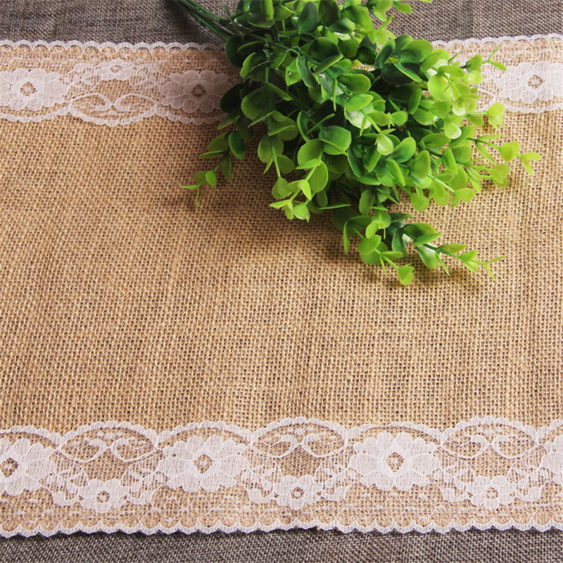 30cm 275cm Burlap Table Runner Wedding Decoration Deco Linen Table Cloth Lace Doily Table Runner Natural