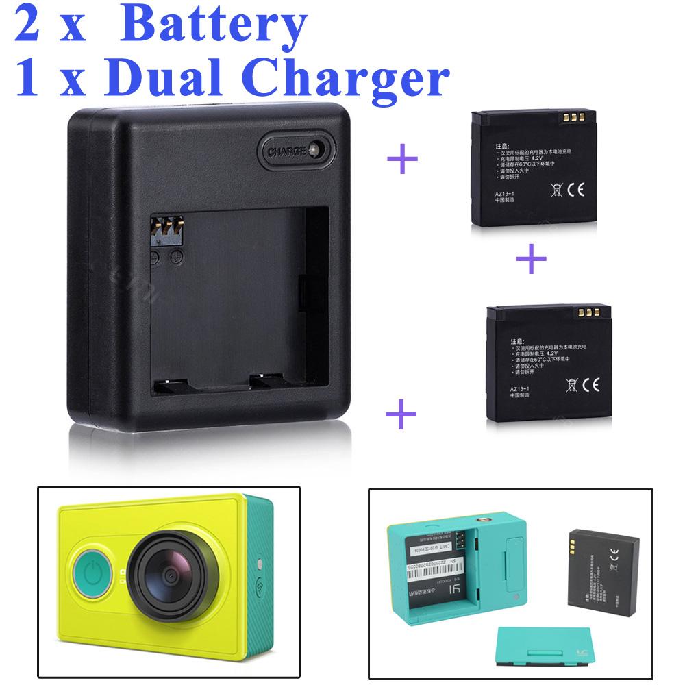 High Quality Xiaomi yi battery 2PCS 1010mAh xiaoyi battery xiaoyi dual charger For xiaomi yi action