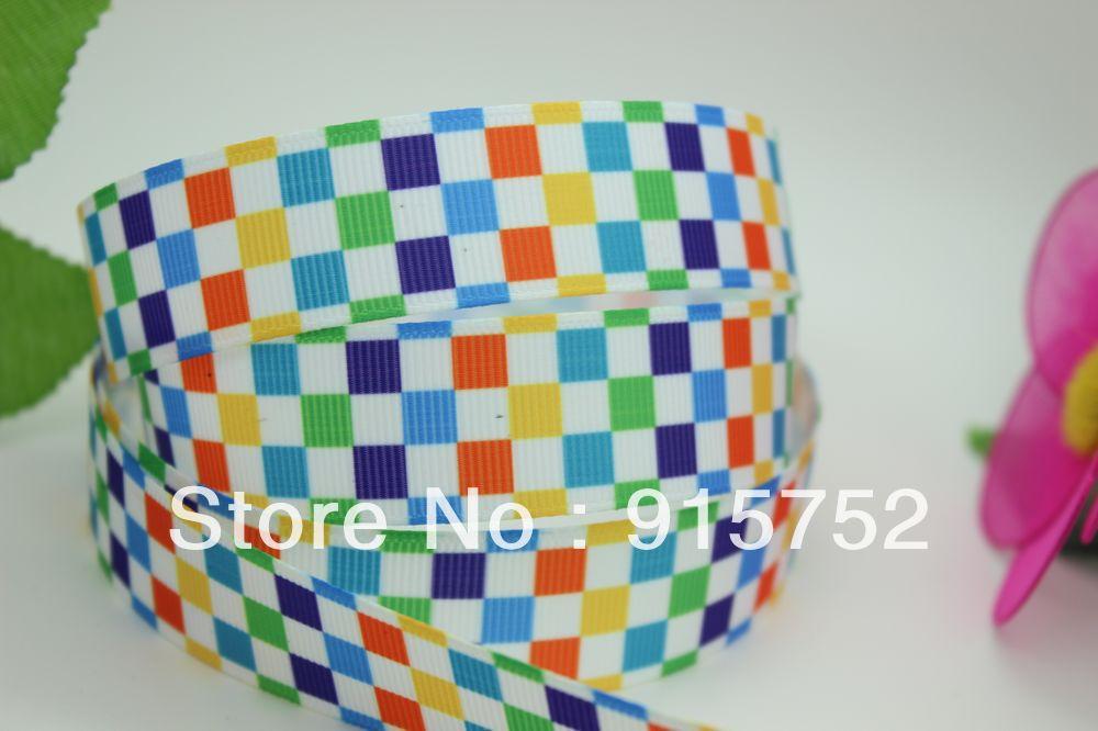 New 7 8 Free shipping font b tartan b font design printed grosgrain ribbon hairbow diy
