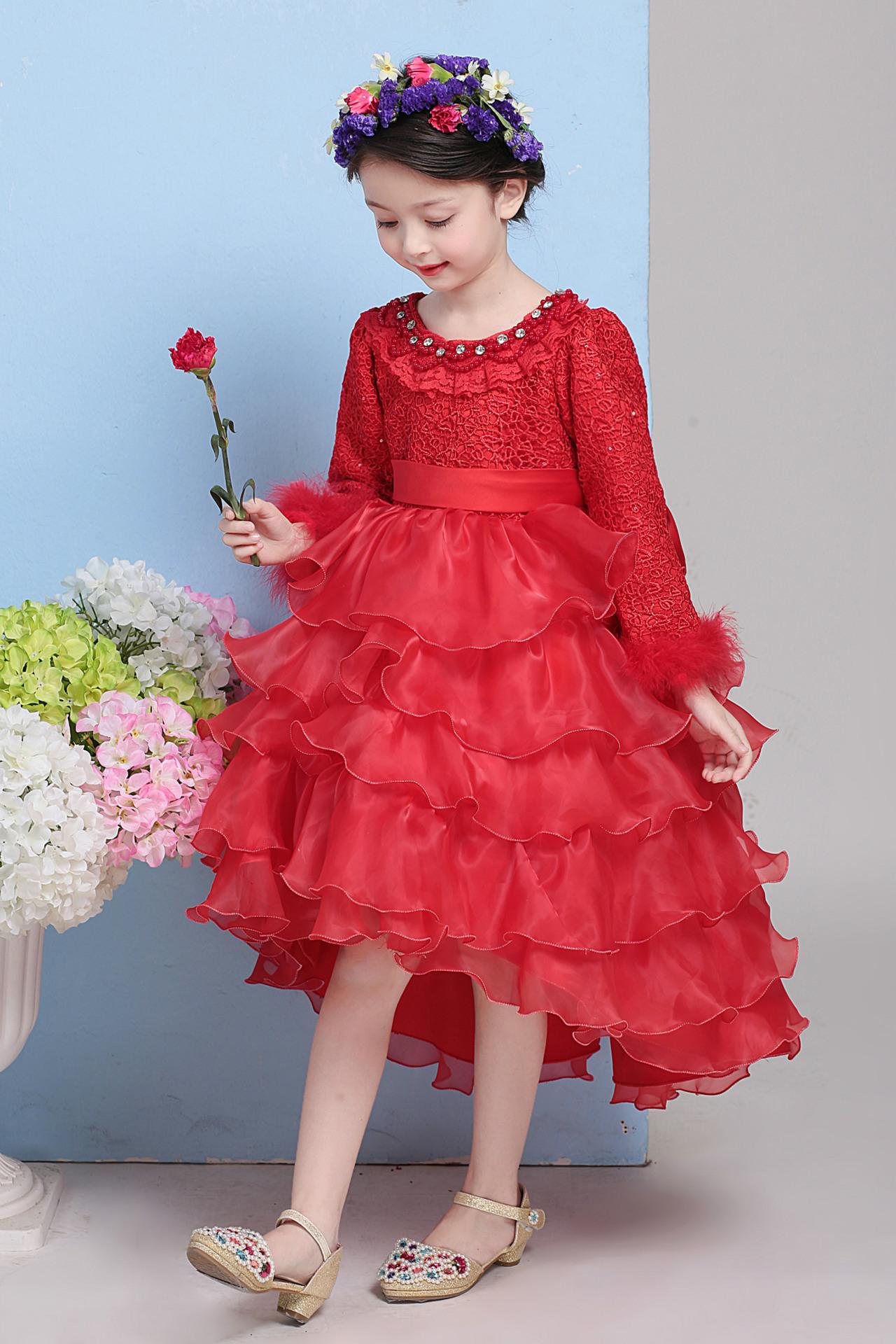 Скидки на Корейские Девушки Красный Бархат Кружева Принцесса Цветок День Рождения Свадебное Платье Партии Дети Clohthing Белый Красный Сетки Лук