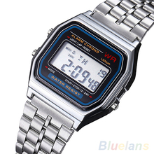Men Women Vintage Stainless Steel LED Digital Stopwatch Sports  Wristwatches