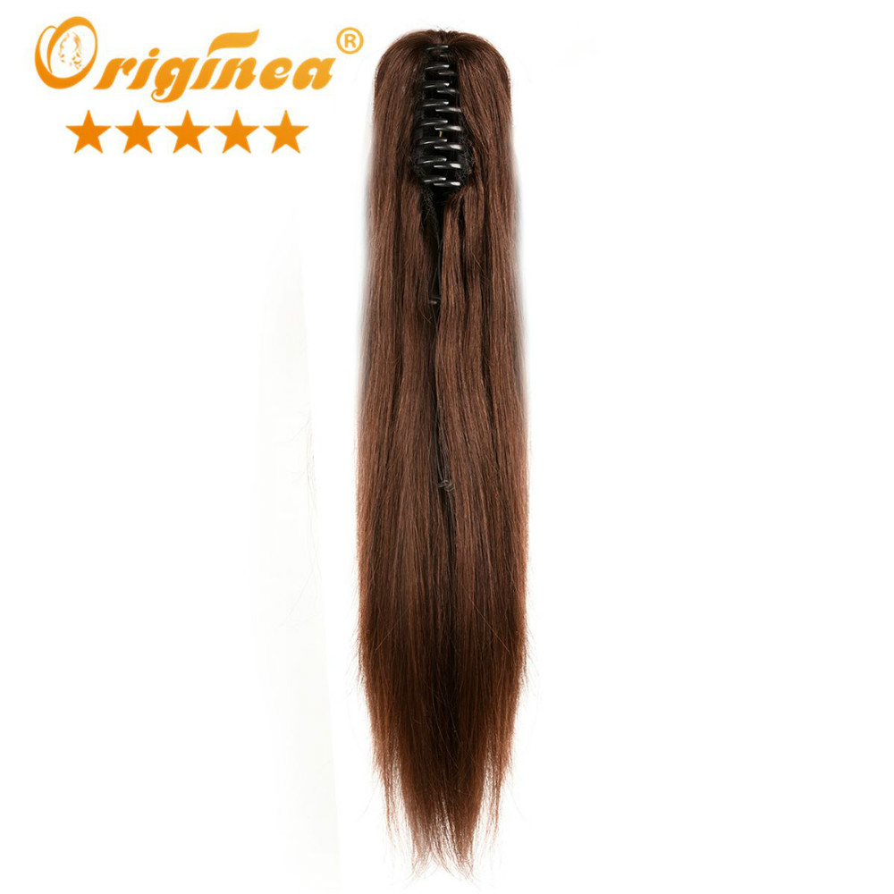 "Originea Brazilian Silky Straight Natural Virgin Human Hair Ponytail Hairpieces 16"" 20"" 24"" Claw Clip Ponytail Hair Extensions"
