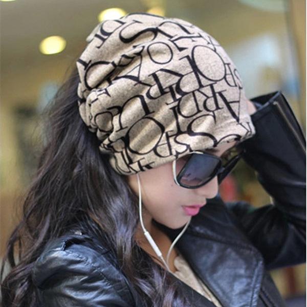 Fashion Korean Women Lady Beanie Scarf Hat Skull Cap Headband Hair Bands 4Colors Hot(China (Mainland))