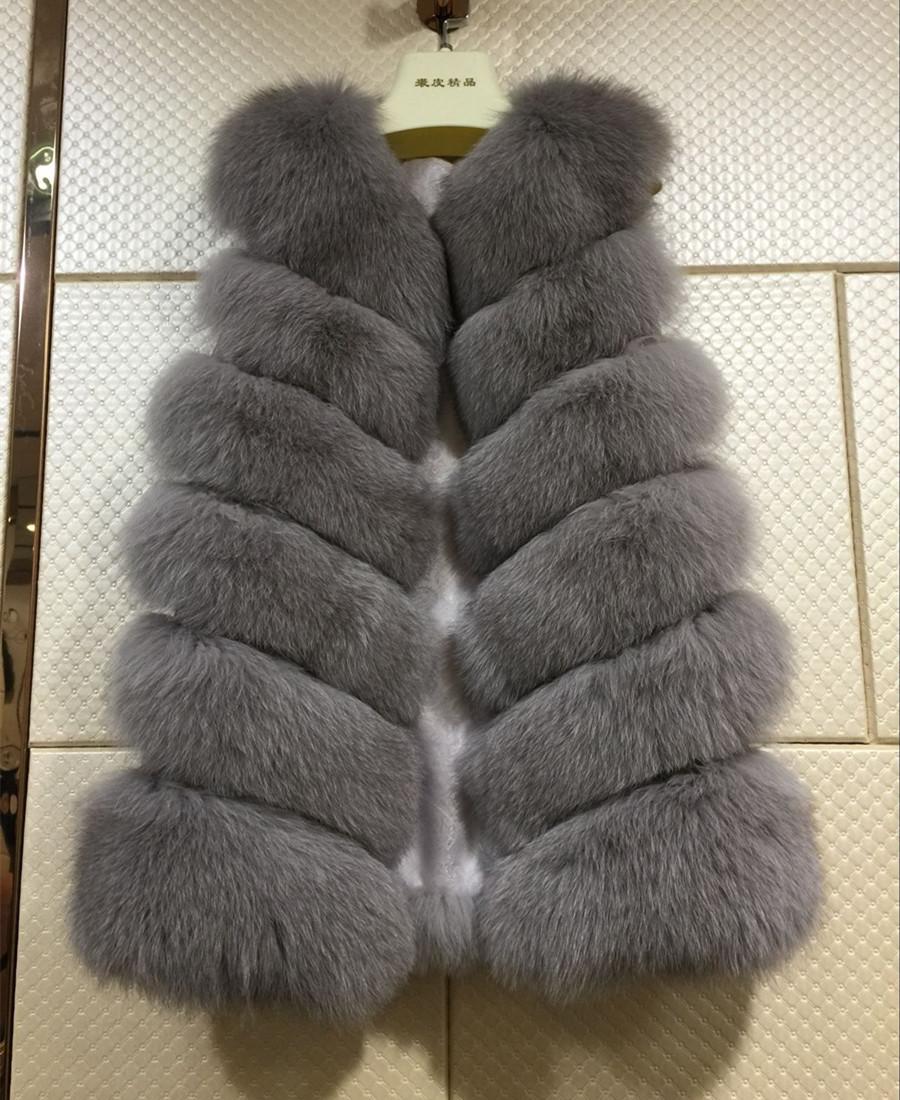 2016 Real Fur Vest Women Winter Soft Fox Fur Coat Lady Fashion Gilet S1671