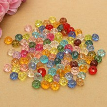 Pack of 100 Multi color Crystal Beads Assorted Faceted Loose Bead Spacer 4x6mm