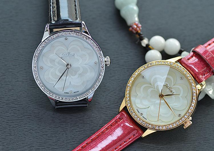 Новый юлий леди женские наручные часы кварцевых часов лучший мода платье корея браслет кожаный снаряд клевер девушка подарок на день рождения 803