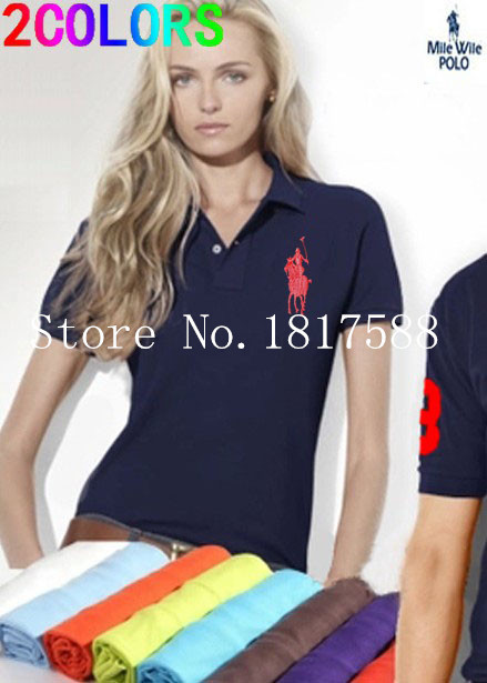 New sale 2015 women POLO shirt brand t shirt slim embroibery short sleeve solid shirt for women plus free shipping 17 colors(China (Mainland))