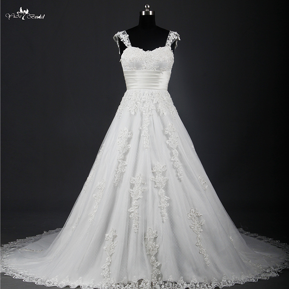 Rsw799 hot sale lace wedding dresses with detachable for Wedding dress for sale used