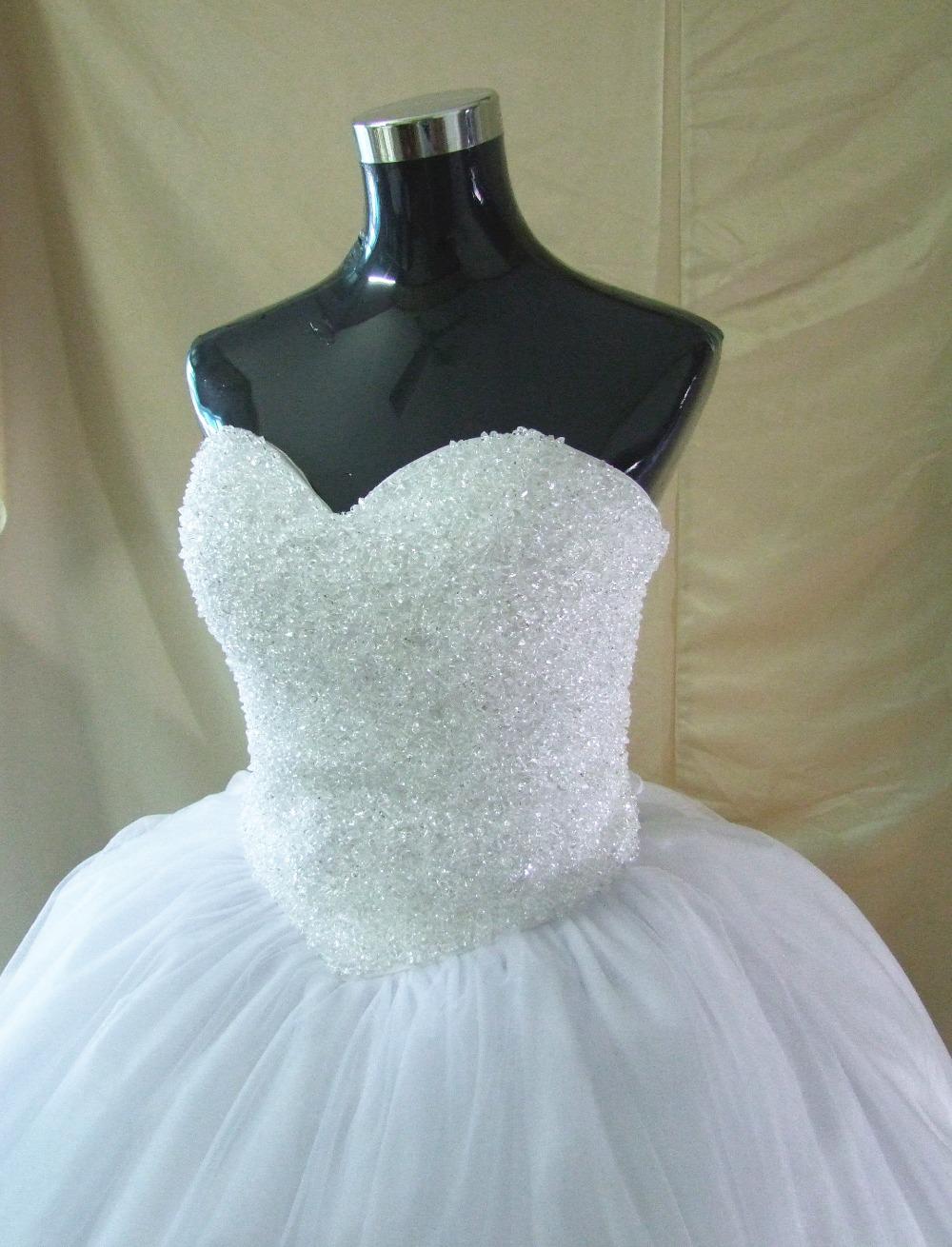 Robe De Mariage Princess Bling Luxury Crystals White Wedding Dress ...