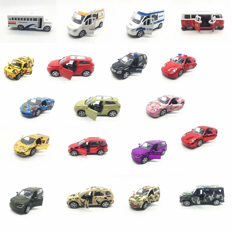 Toy model Camouflage coating alloy car model Sports car ambulance school bus off-road vehicles to open the door back to power(China (Mainland))