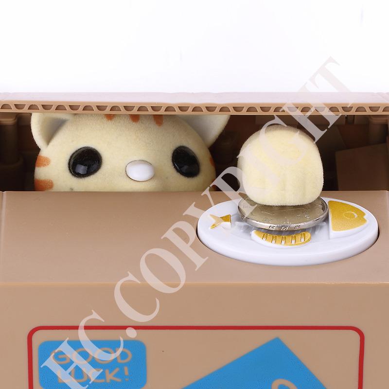Cute Animal Yellow Kitty Cat Stealing Coin Bank Itazura Money Save Box Money Automated Saving Box Best Gift for Children(China (Mainland))