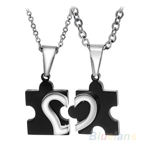 1 Pair 2014 New Men's Women's Couple Lovers Stainless Steel Love Heart Puzzle Necklaces & Pendants 09KN - Ideal Deal store