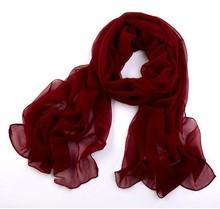 Nice Chiffon Scarf Women High Quality Gradual Solid Color Chiffon Georgette Silk Scarves Shawl Female Long Design SW027(China (Mainland))