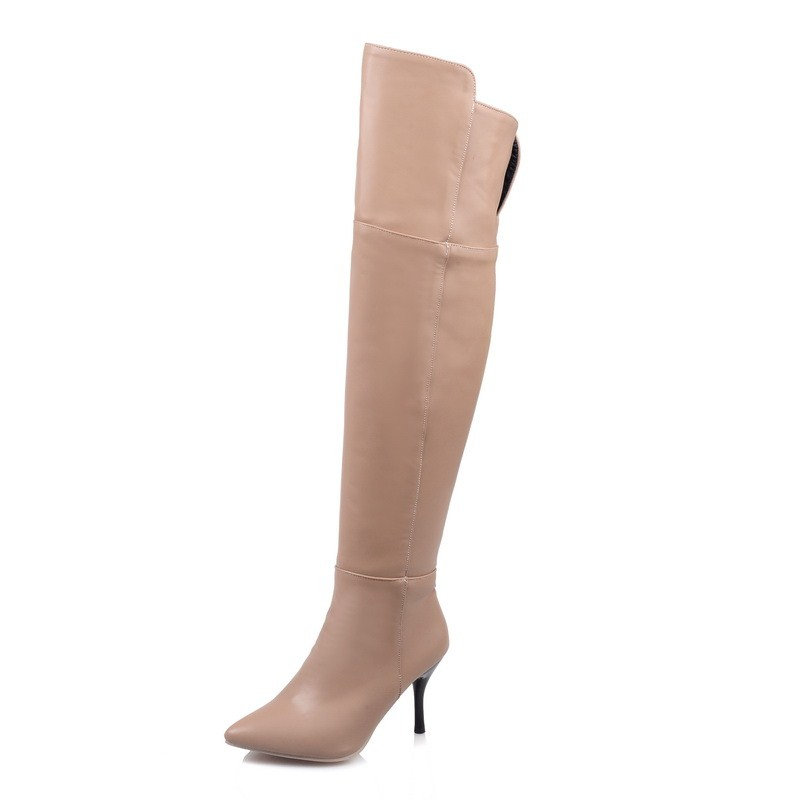 Thin Heels 8cm hight heels woman casual shoes round toe Spring Winter Solid martin ankle boots pu leather(China (Mainland))