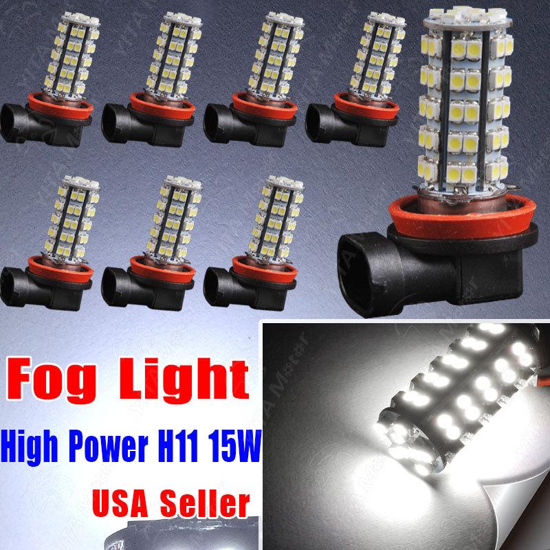 Wholesale Price LED Car 8pcs H11 Xenon White 68SMD led Bulbs External Fog Lights Daytime Drving Lights Running Lights led Lamps(China (Mainland))