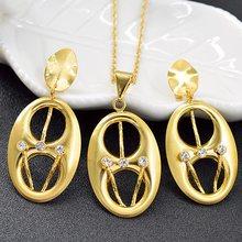 Bijoux ensoleillés ensemble de gros bijoux pour femmes collier boucles d'oreilles pendentif Dubai bijoux de mode pour cadeau d'anniversaire résultats de bijoux(China)