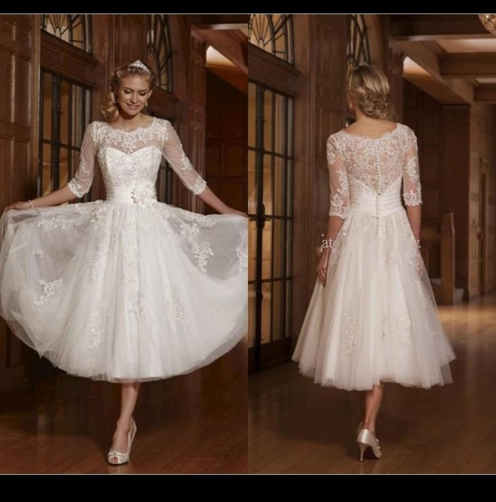Long sleeve a line white 2015 short wedding dresses scoop for Long sleeve white lace wedding dress