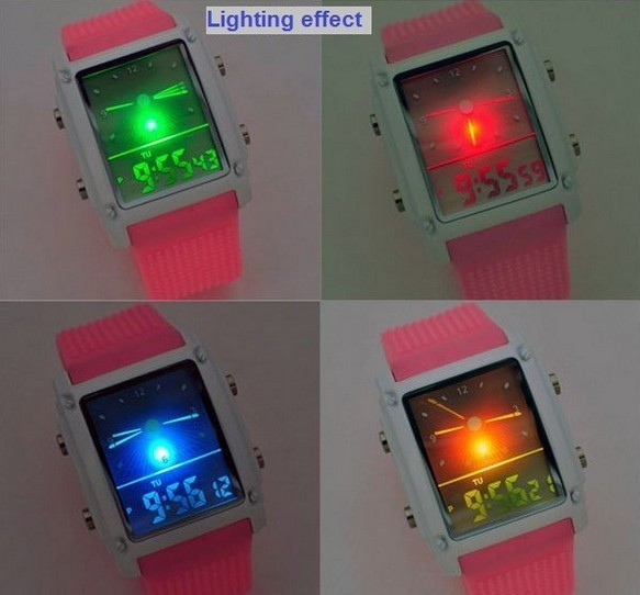 Famous korea brand Analog digital jelly Watch colorful silicone strap man woman electronic LED watch nightlight glowing