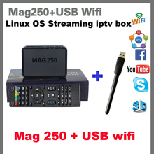 10PCS Best Linux IPTV box Mag 250 iptv set top box Media player with Wifi usb connector / Cable Not include IPTV account mag250