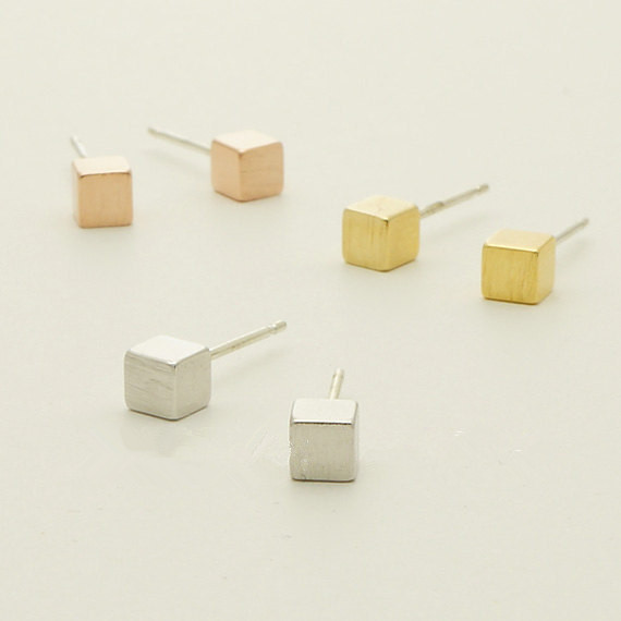 1pc Gold Silver Pink Gold   Tiny Square  Simple earrings Gift mom Birthday Gift Stud Earrings for Women E082<br><br>Aliexpress