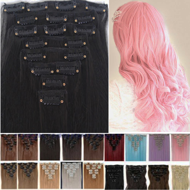 11 Colors!!! Free Shipping 60cm 24inch 8pcs/Set Curly Hair Extension Hairpiece Hair Weave Synthetic Clip In Hair Extensions Pink(China (Mainland))