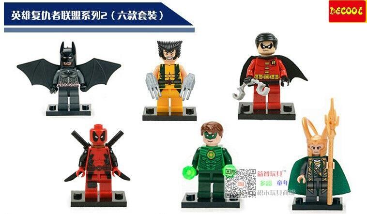 Decool 330Pcs Building Blocks Super Heroes Avengers Minifigures Loki Black Window Deadppol Loki Venom Robin Mini