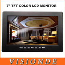 Hot 2014 MINI 7 Inch TFT Color LCD Monitor Built-in Speaker High Performance Widescreen Support 3 Channel AV Inputs Black(China (Mainland))