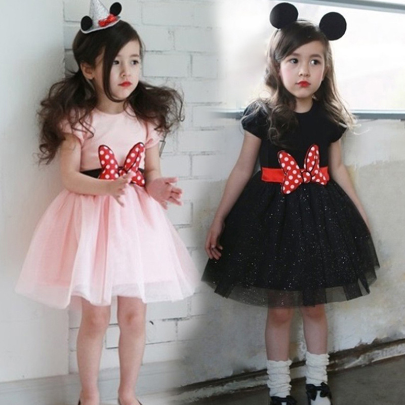 The spring and summer of Korea Tong Minnie BOW BELT short s glitter Princess Dress Girls.(China (Mainland))