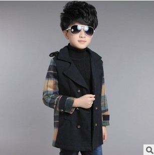 Hot Sale 2015 Boy Fashion Casual Plaid Splicing Long Wool Jacket Outerwear Kid Double-Breasted Tweed Coat Children Clothes Y620 <br><br>Aliexpress