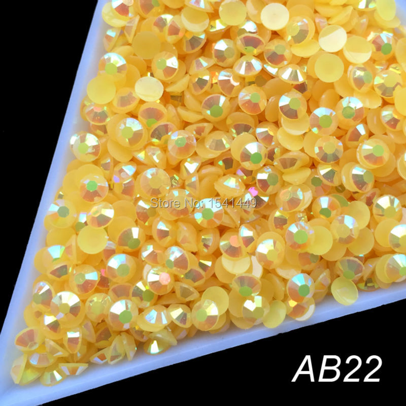 Wholesale 22 Colors Jelly Laser Crystal SS12 AB 3mm Flatback Rhinestones crystal facet resin 1000pcs/bag nail art beads