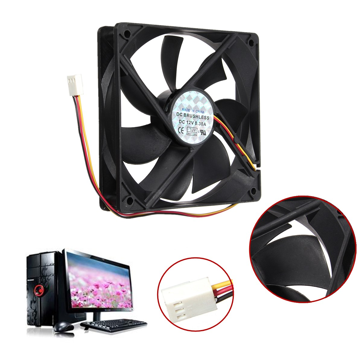 Universal 12V 3Pin Standard Silent Computer CPU Cooler Cooling Fan PC Black Heat Sink for PC Computer Desktop 120mmx120mmx25mm(China (Mainland))