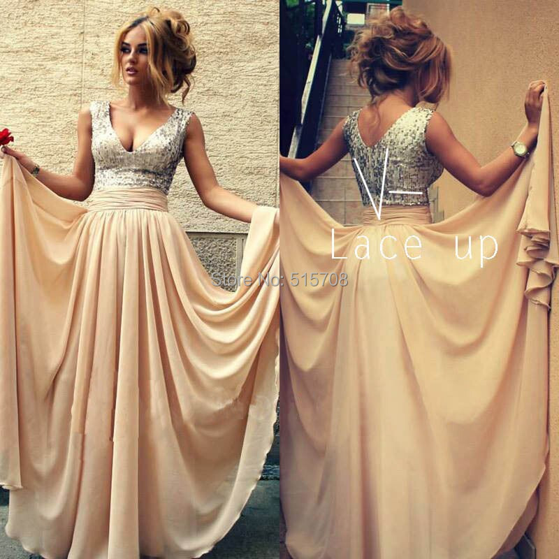 Best Selling Sexy V Neck Straps Sleeveless Champagne Lace Up Back Chiffon Formal Evening Gown Pageant Party Long Prom Dresses(China (Mainland))