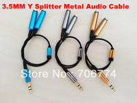 NEW GOLD 3.5mm Stereo Headphone Y Splitter Audio Cable for Mp3 MP4 IPOD + Free Shipping  50pcs/lot