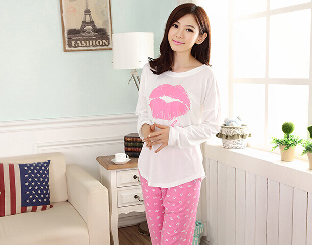 Promotion 2015 Casual Women Pajama Sets Long Sleeve O-Neck Lady Cotton Sleepwear Spring Autumn Lips Pattern Nightwear 3 Colors(China (Mainland))