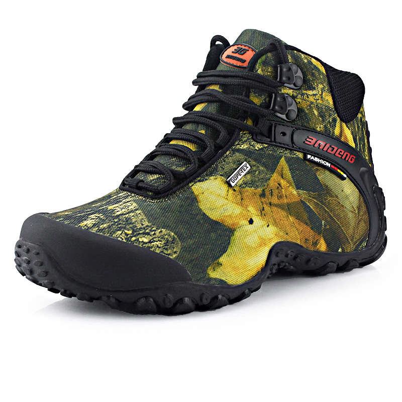 2016 Outdoor Waterproof Canvas Hiking Shoes Fishing Boots Anti-slip Wear Resistant Breathable Climbing High Sprots Shoes For Men