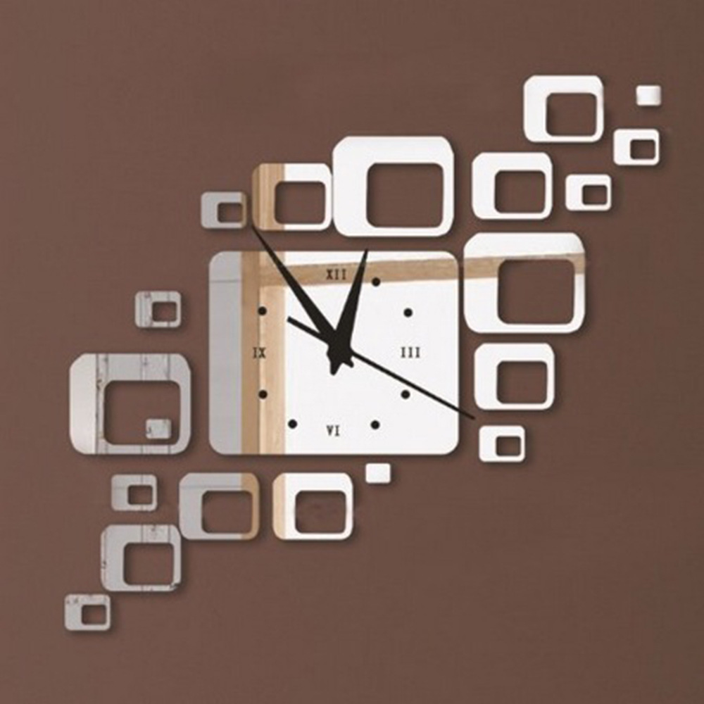 Hot Sale direct selling led acrylic wall clock squares Quartz mirror Modern home decoration diy stickers(China (Mainland))