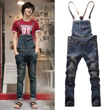 2014 Spring Autumn Classic Men's Zipper Loose Blue Denim Bib Pants , Korean Hole Vintage Overalls , Destroyed Jean Jumpsuits(China (Mainland))