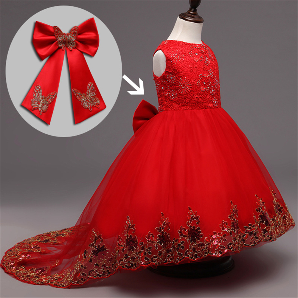 High Quality Girls Red Trailing Princess Dress Kids Ball Gown Embroidered Bow Party Dress Girls Wedding Dress Baby Girl Clothes(China (Mainland))