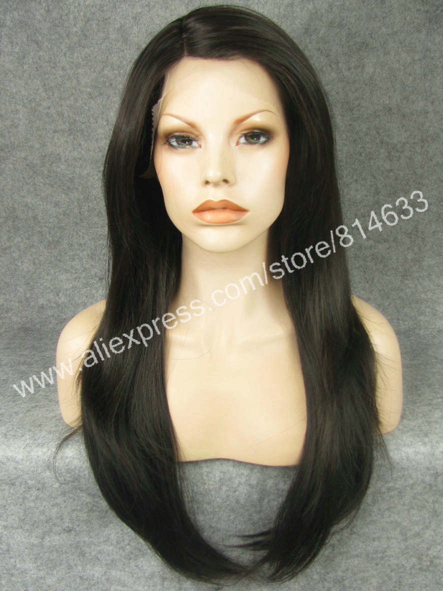 S14 DHL Free 24 Long Silky Straight Mix Brown Synthetic Lace Front Wig With Skin Top Natural Wig<br><br>Aliexpress