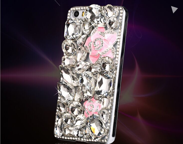 Pure manual Flower Luxury Rhinestone mobile phone cover hard back style case For HTC Desire 610(China (Mainland))