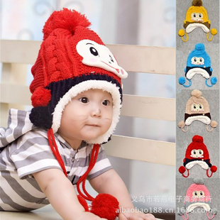 2015 New Fashion Winter Baby Knitted(outside) Earflap Caps Infant Wool(inside) Bomber Hats Lovely Cartoon Warm Cap Free Shipping(China (Mainland))
