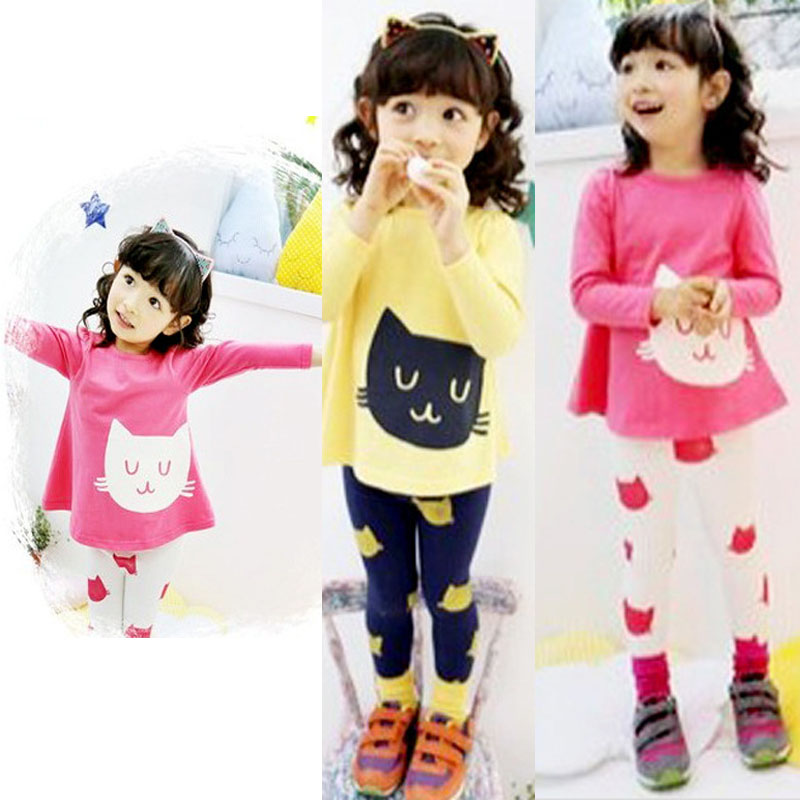 Yellow And Red Color Casual Girl's Kids Autumn Spring Small Cat Clothing Long-sleeve T-shirt Legging Set Kids Suits for girls(China (Mainland))