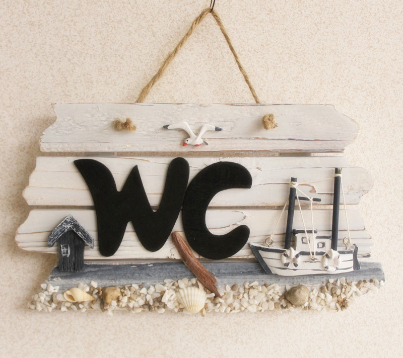 Rustic WC wooden plaque restroom door plate nautical style home decoration wooden crafts 2pcs/lot